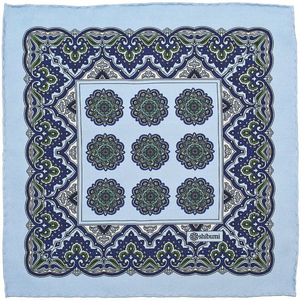 Paisley Printed Silk Pocket Square - Sky Blue - Handrolled