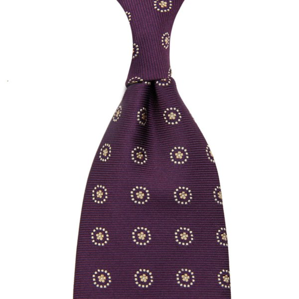 Floral Jacquard Silk Tie - Eggplant - Hand-Rolled