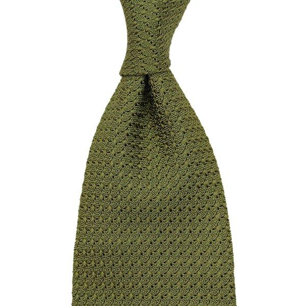 Grenadine / Garza Grossa Tie - Olive - Hand-Rolled