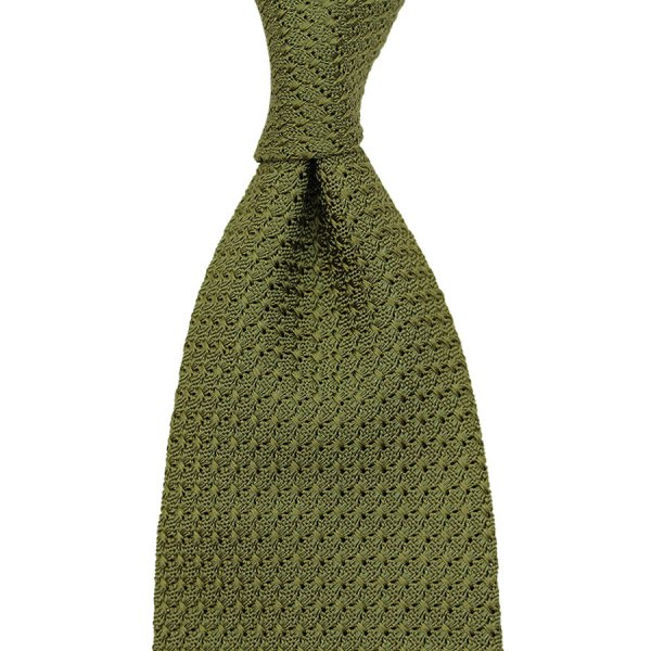 Grenadine / Garza Grossa Tie - Olive - Handrolled