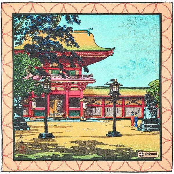 Ukiyo-e Silk Pocket Square - Omoide - Handrolled - 40 x 40cm