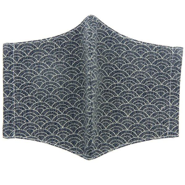 Kimono Motif Washable Cotton Mask - Navy