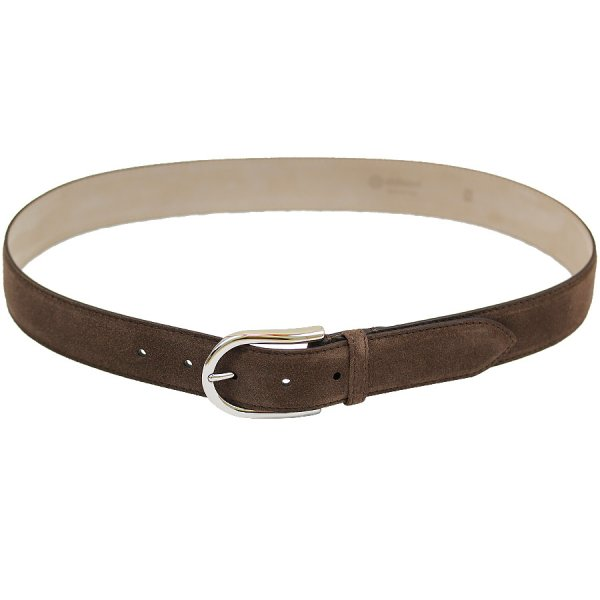 Suede Leather Belt - Dark Brown