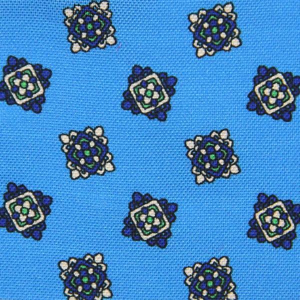 Vintage Printed Silk Bespoke Tie - Powder Blue