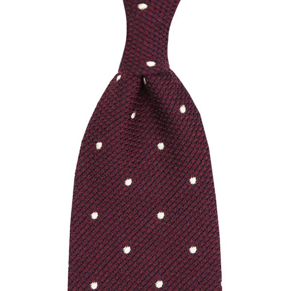 Wool/Silk Grenadine Tie With Dots - Burgundy - Handrolled - 140cm