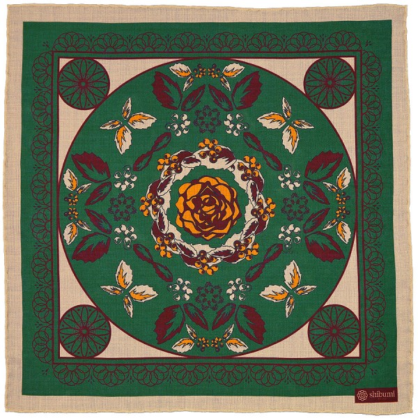 Floral Printed Wool / Silk Pocket Square - Forest - 40 x 40cm