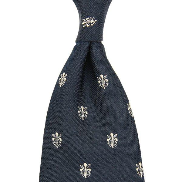 Giglio Di Firenze Silk Tie - Navy - Handrolled