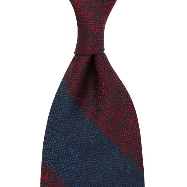 Block Stripe Boucle Silk Tie - Navy / Burgundy - Handrolled