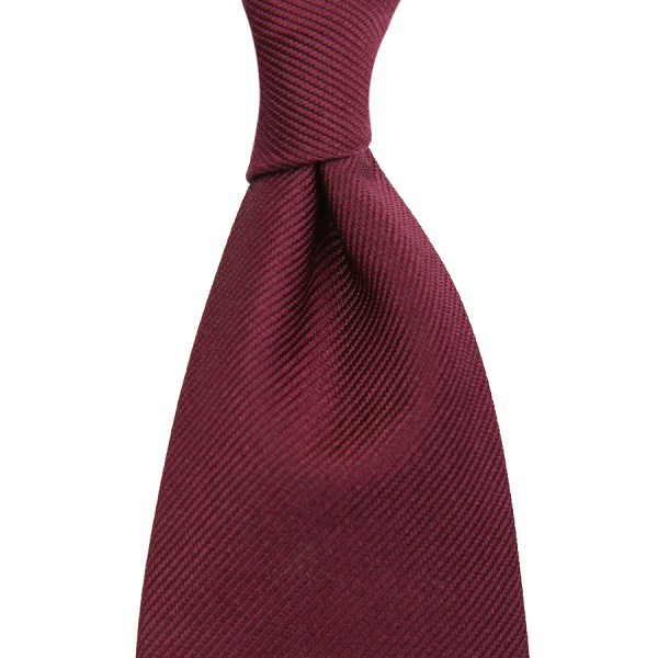 Plain Repp Silk Tie - Burgundy - Self-Tipped
