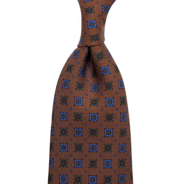 Ancient Madder Silk Tie - Oatmeal III - Hand-Rolled