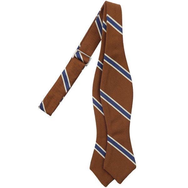 Repp Stripe Silk Bow Tie - Copper / Navy