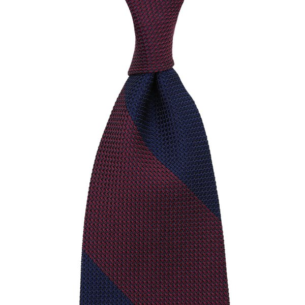 Block Stripe Grenadine / Garza Piccola Silk Tie - Navy / Burgundy