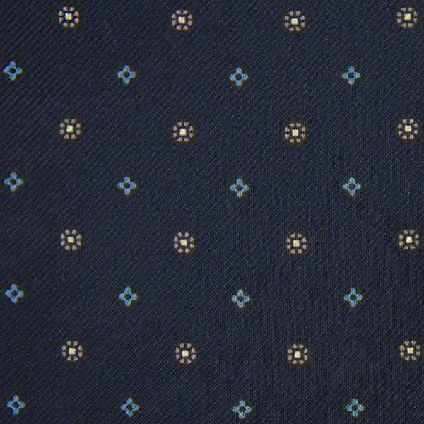 Floral Printed Silk Bespoke Tie - Navy I