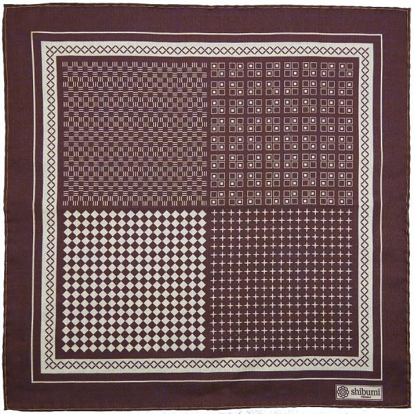 Geometrical Wool / Silk Pocket Square - Burgundy