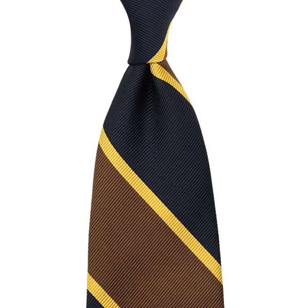 Repp Stripe Silk Tie - Navy / Copper / Yellow - Handrolled