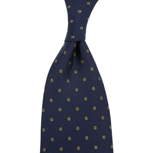 Floral Printed Silk Tie - Midnight - Hand-Rolled