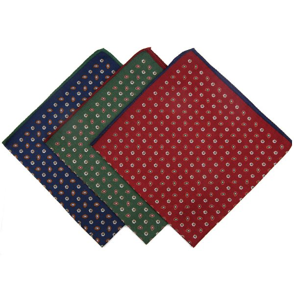 Paisley Printed Cotton Handkerchief Set - Navy / Burgundy / Forest