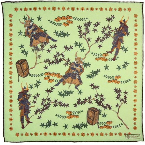 Samurai Motif Wool / Silk Pocket Square - Pistachio - 40x40cm