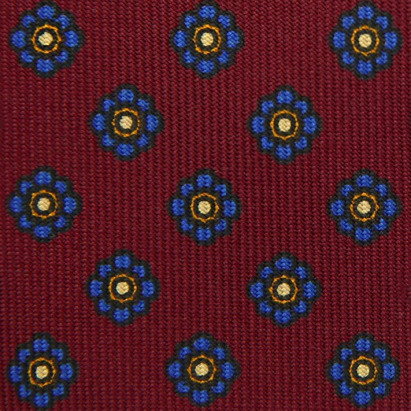 Shibumi-Flower Printed Silk Bespoke Tie - Burgundy