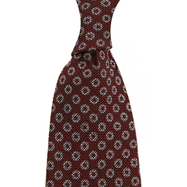 Circle Printed Grenadine Tie - Wool / Cashmere / Silk - Burgundy