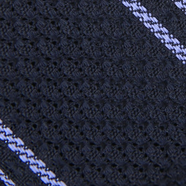 Striped Garza Grossa / Grenadine Bespoke Tie - Midnight / Blue