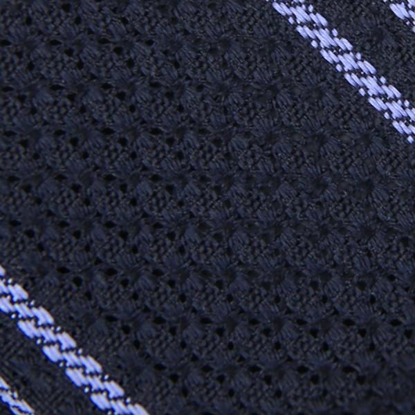 Striped Garza Grossa / Grenadine Bespoke Tie - Midnight / Blue