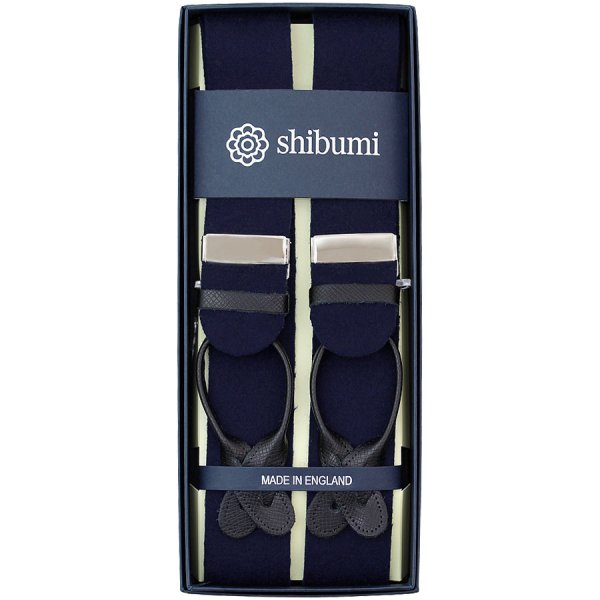 Boxcloth Braces - Navy / Black Leather