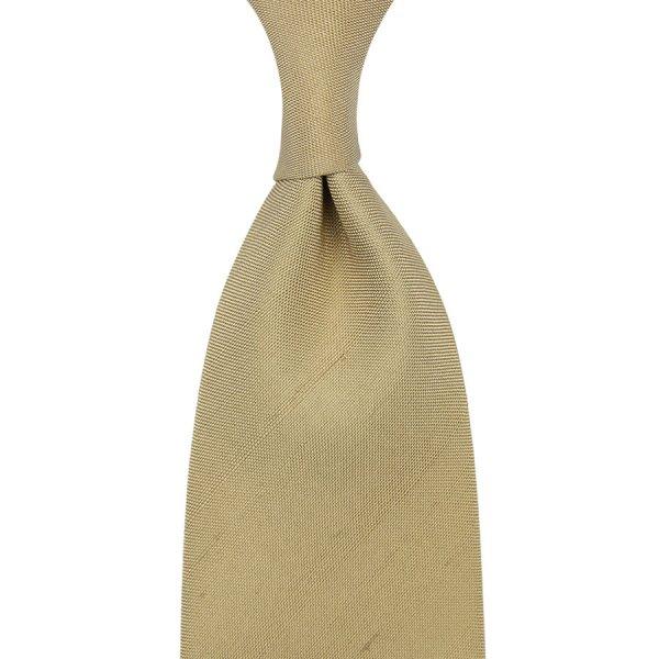 Panama Shantung Silk Tie - Sand - Hand-Rolled