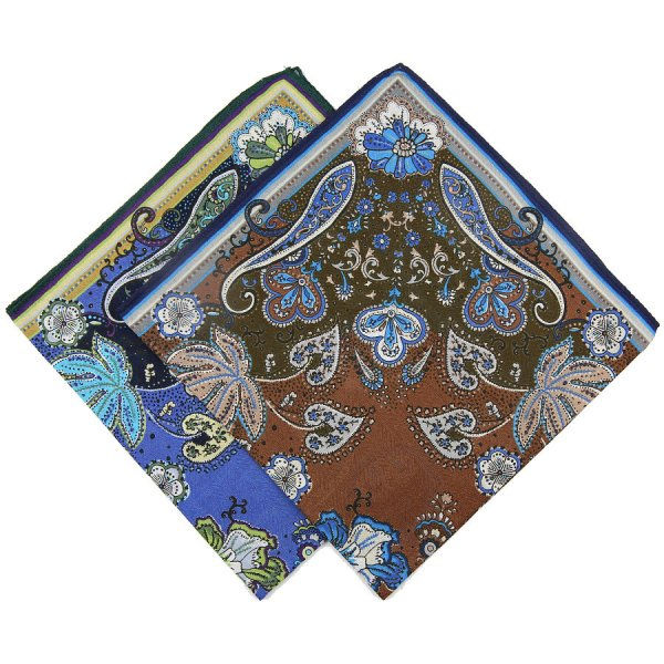Paisley Printed Cotton Handkerchief Set - Navy / Brown