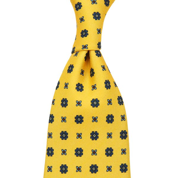 Floral Printed Silk Tie - Yellow - Self-Tipped