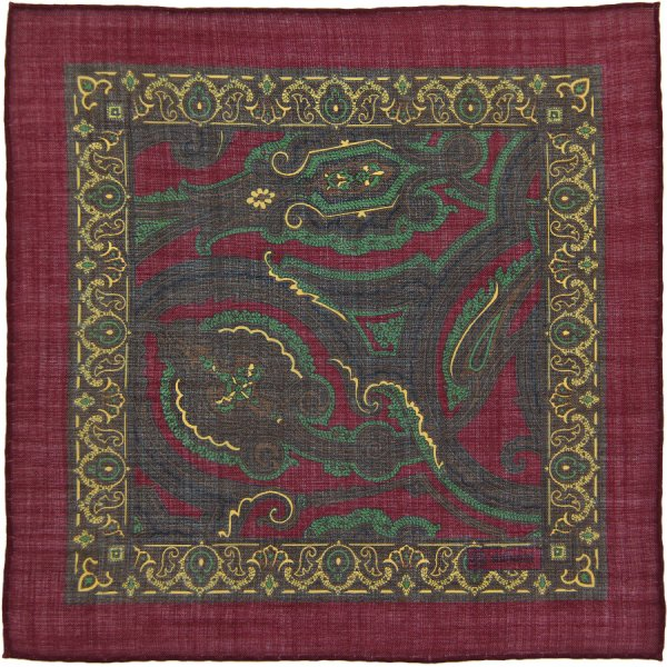Paisley Printed Wool / Silk Pocket Square - Burgundy I - Handrolled