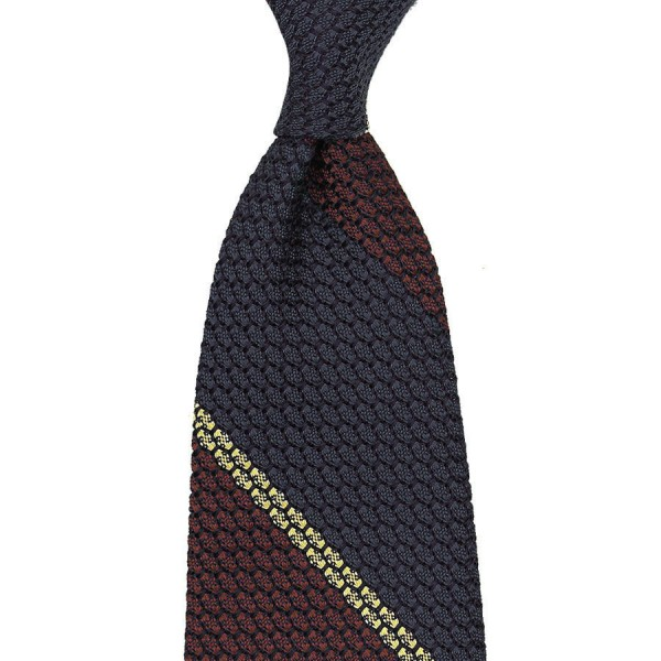 Striped Grenadine / Garza Grossa Silk Tie - Navy / Burgundy / Yellow