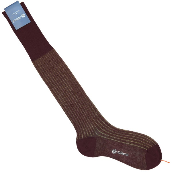 Knee Socks - Shadow Stripes - Burgundy / Beige - Pure Cotton