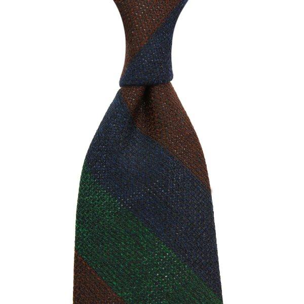 Triple Block Stripe Wool / Silk Grenadine Tie - Navy / Forest / Brown