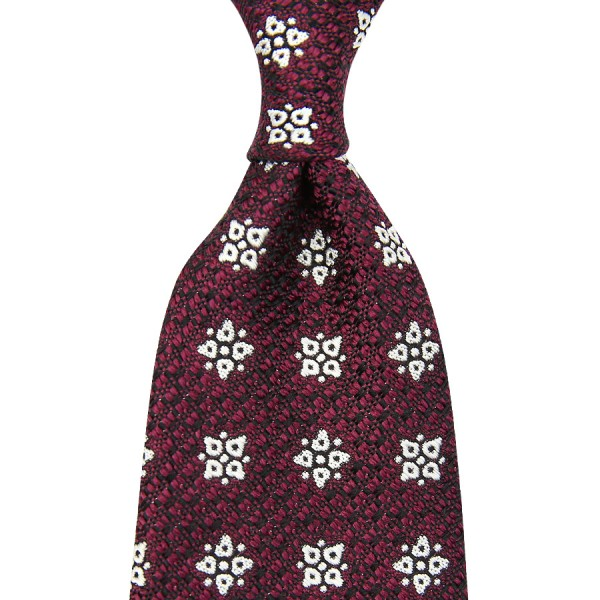 Floral English Grenadine Silk Tie - Burgundy - Handrolled