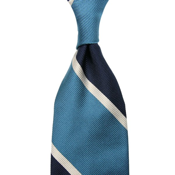 Super Repp Block Stripe Silk Tie - Navy / Sky - Hand-Rolled