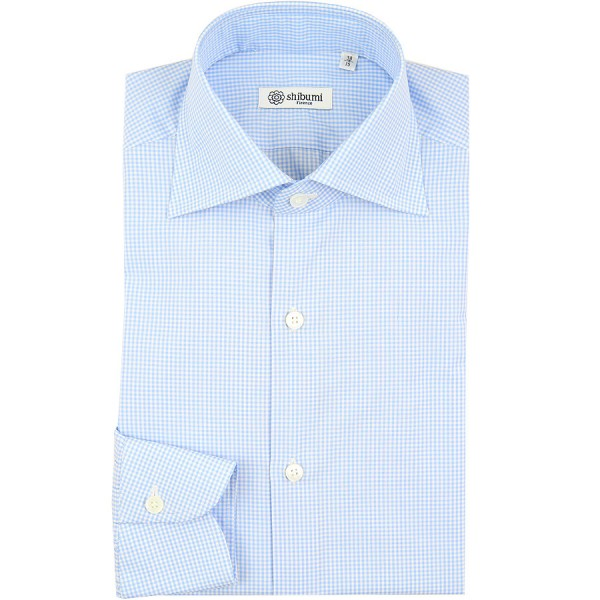 Poplin Semi Spread Shirt - White / Light Blue - Checked