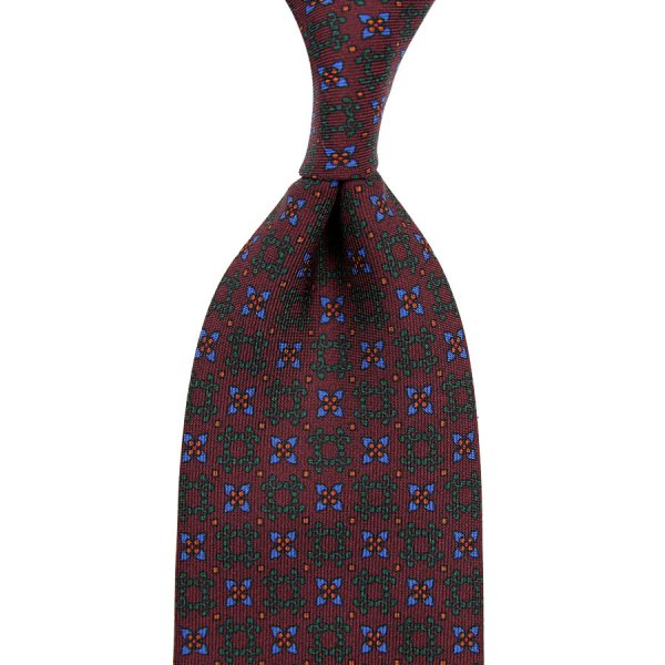 Ancient Madder Silk Tie - Maroon - Hand-Rolled