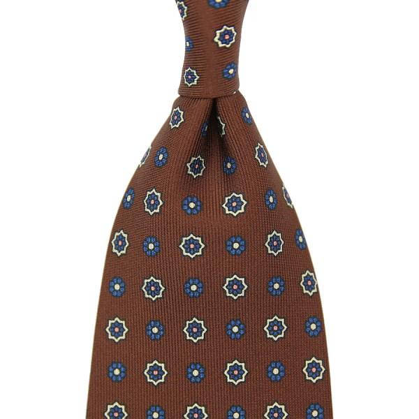 Floral Printed Silk Tie - Brown - Handrolled - 140cm