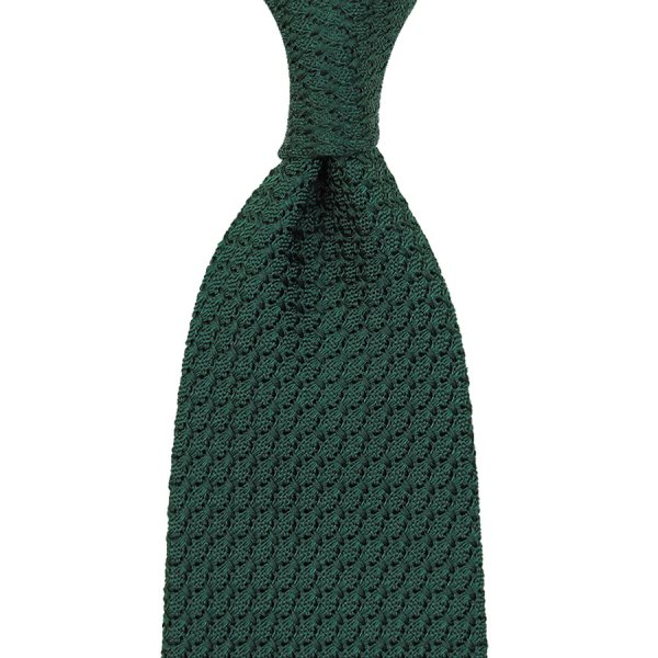 Grenadine / Garza Grossa Tie - Forest Green - Hand-Rolled