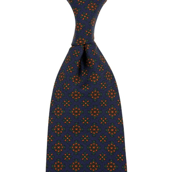 Ancient Madder Silk Tie - Navy VII - Hand-Rolled